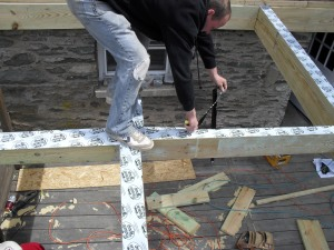 Using a rubber membrane along joists is an added protective step to take to prevent Galvanic Corrosion.